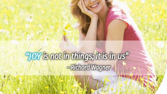 Joy is not in things; it is in us
