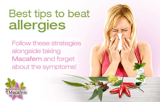 tips for defeating allergies alongside macafem