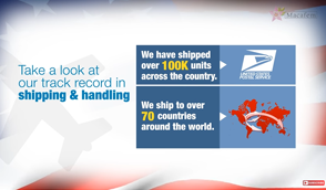 We have shipped over 100,000 units across the country and over 20,000 units internationally
