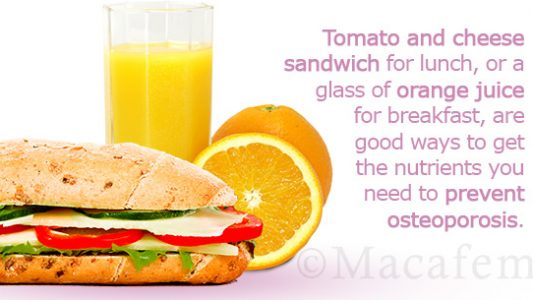 Menu Plan for Preventing Osteoporosis while on Macafem