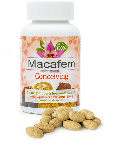 bottles of Macafem Conceiving